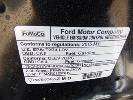 2015 FORD MUSTANG ECOBOOST BLACK 2.3 AT F19076